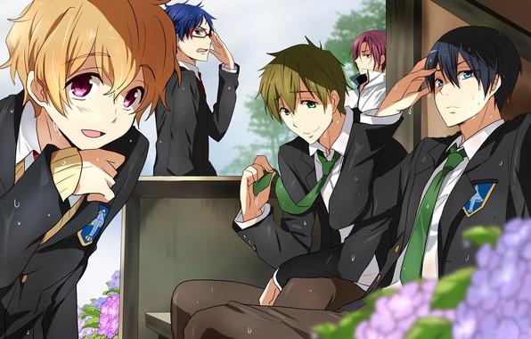 Picture emotions, glasses, tie, emblem, guys, friends, school uniform, art, sweat, hydrangea, Nanase Haruka (Free!), Matsuoka …