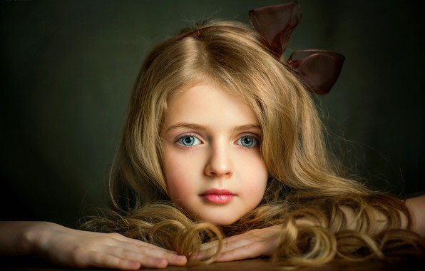 Picture eyes, face, hair, girl, bow