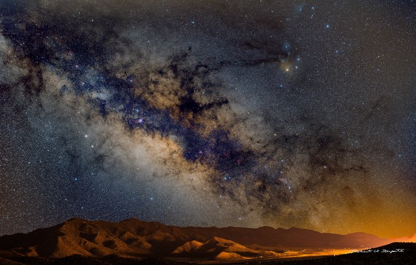 Picture stars, mountains, night, panorama, the milky way