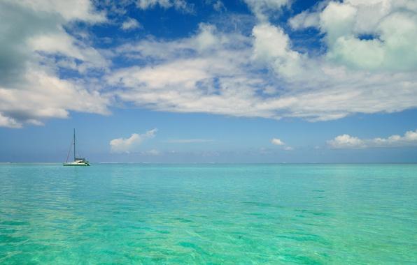 Picture sea, the sky, clouds, tropics, yacht, horizon, Bora Bora, French Polynesia