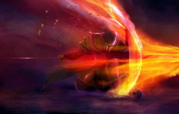 Picture fire, sake, sword, fantasy, soldier, armor, weapon, artwork, shield, warrior, fantasy art, Knight, pearls