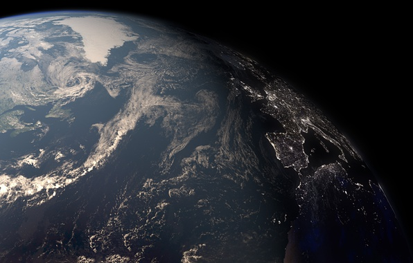 Picture surface, lights, earth, planet