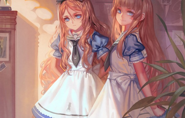 Picture girls, tie, bow, Alice in Wonderland, art, apron, alice, ruffles, blue dress, Alphonse