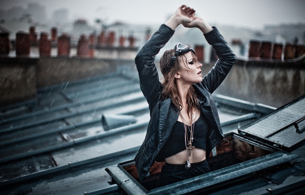 Picture roof, girl, decoration, rain, mood, the situation, window, Magdalena Korpas