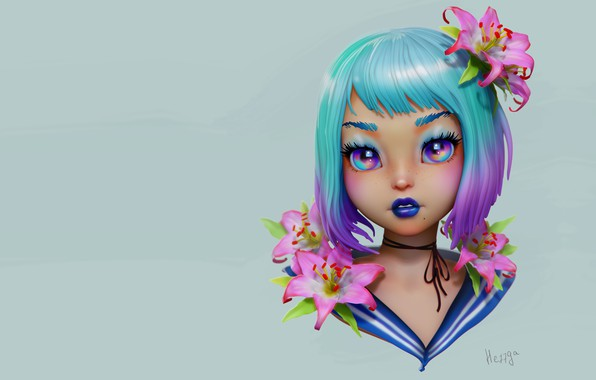 Picture flowers, portrait, anime, art, girl, Olya Anufrieva, 3d c, JGirl