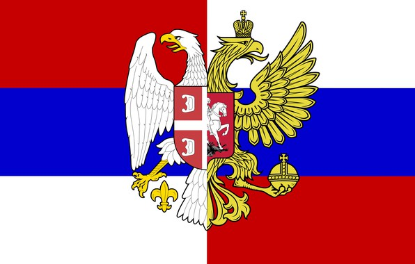 Picture Flag, Tricolor, Coat of arms, Russia, Serbia, Brotherhood, The eagles