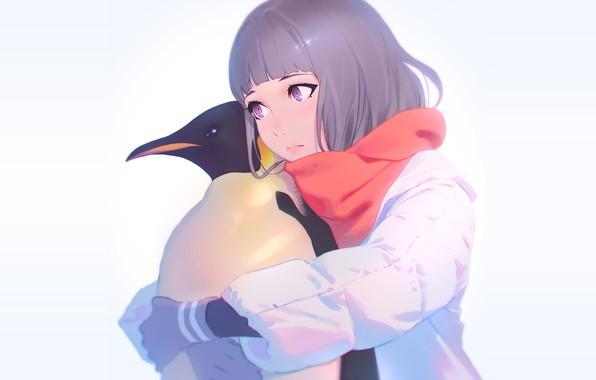 Photo wallpaper background, girl, penguin