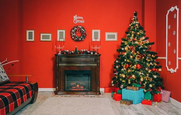 Wallpaper Xmas New Year Gifts Interior Design Toys