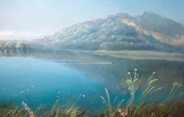Picture landscape, ears, duck, Aibek Begalin, Two thousand thirteen, Morning in Karkaralinsk