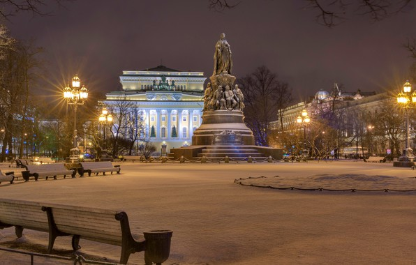Picture winter, snow, trees, night, lights, home, area, lights, Saint Petersburg, monument, Russia, benches, Palace, square ...