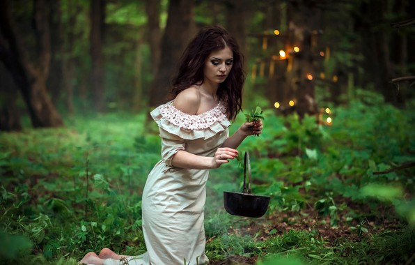 Picture greens, grass, leaves, girl, trees, pose, magic, smoke, lights, makeup, dress, hairstyle, bowler, brown hair, …