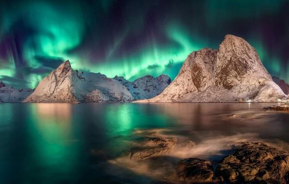 Picture Northern lights, Norway, Norway, Pure, Lofoten, Nordland
