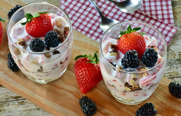 Photo wallpaper strawberry, BlackBerry, glasses, food, nuts, berries, sweet, dessert, ice cream