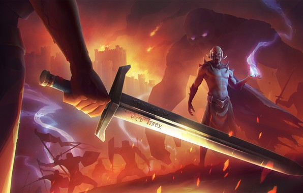 Picture fire, freak, sword, the battle, Atmosphere Shot, The Kingdoms