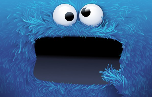 Picture blue, mouth, Cookie monster, appetite, Cookie Monster, eater of cookies, life-sized puppet, Om nom nom …