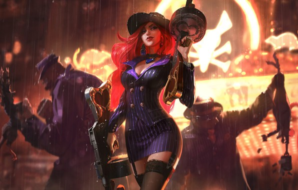 Picture Rain, Casino, Dress, Hat, Stockings, Machine, Art, Splash, League of Legends, LoL, Redhead, Artwork, League …