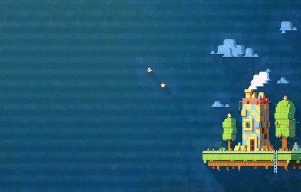 Picture The sky, Minimalism, House, Birds, Background, Art, Pixels, Fez, Pixel art Fez