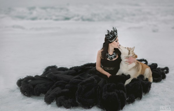 Picture girl, snow, kiss, dog, dress