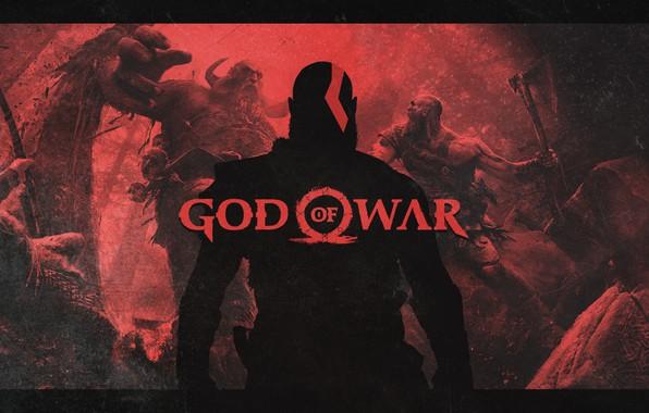 Picture axe, battlefield, red, blood, logo, forest, Sony, demigod, monster, weapon, Kratos, God of War, man, …
