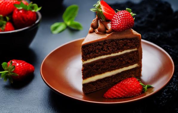 Photo Wallpaper Chocolate Strawberry Cake Cream Dessert Cakes