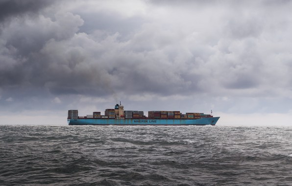 Picture sea, the sky, ship, barge, a container ship
