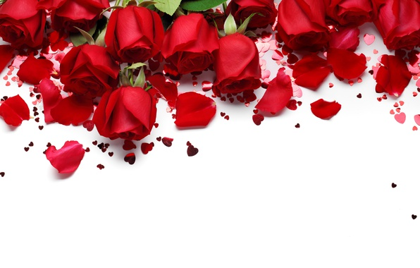 Picture hearts, red, love, flowers, romantic, hearts, Valentine's Day, gift, roses, red roses