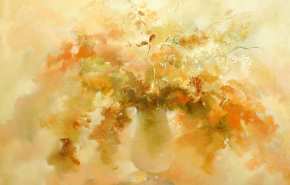 Picture autumn, flowers, vase, Still life, yellow background, Sfumato, gift painting, Petrenko Svetlana