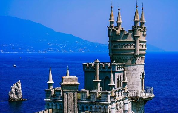 Picture sea, the sun, mountains, rock, blue, coast, haze, fortress, Crimea, Swallow's nest, The black sea