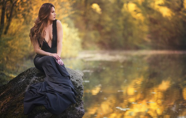 Picture water, girl, pose, mood, stone, dress, pond, Martyna Lasota