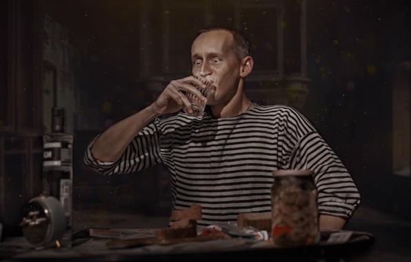 Picture glass, thirst, man, vodka, vest, appetizer