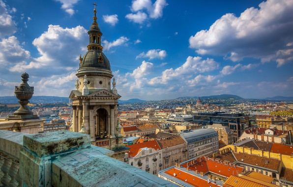 Picture the sky, clouds, building, home, panorama, Cathedral, temple, the parapet, Hungary, Hungary, Budapest, Budapest, St. …