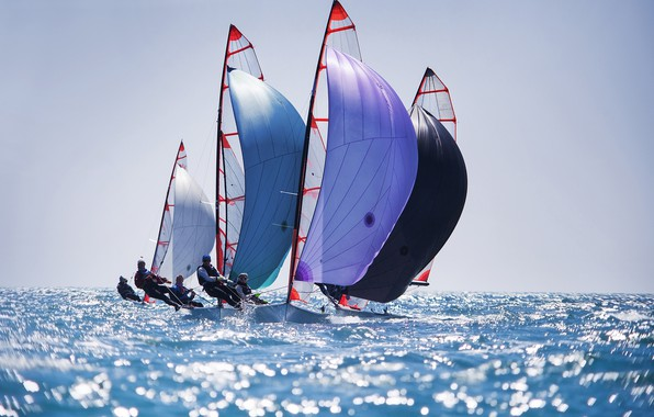 Picture sea, the sky, the sun, boats, horizon, sails, regatta, sailing