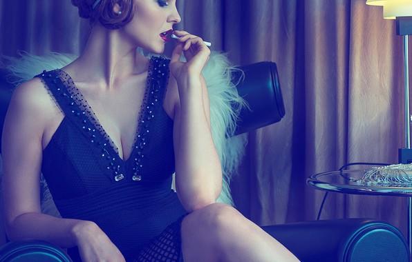 Picture pose, style, retro, model, dress, neckline, An La