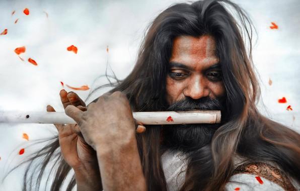 Picture petals, flute, long hair, Indian