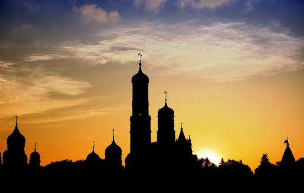 Picture landscape, sunset, the city, Church, tower, temple, Russia, silhouette, colorful, dome, Orthodoxy, Orthodox