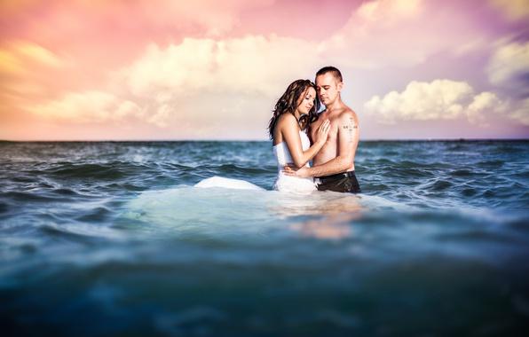 Picture sea, love, pair, wet