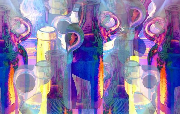 Picture glass, line, paint, figure, bottle