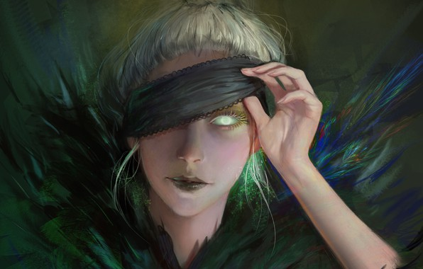 Picture girl, face, eyes, feathers, fantasy, art, headband