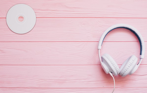 Picture white, music, headphones, disk, pink background