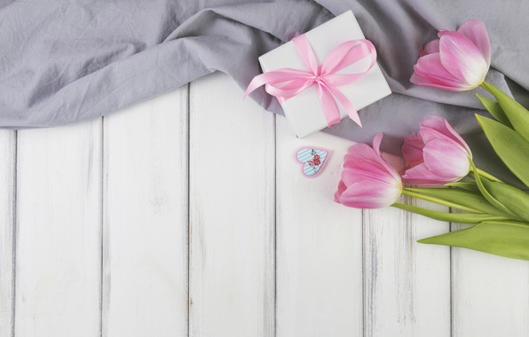 Picture gift, tulips, wood, flowers, decoration