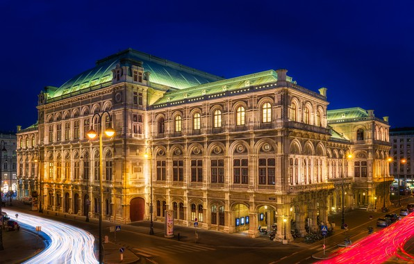 Picture night, lights, the building, road, home, excerpt, Austria, lights, street, Palace, Opera House, Vienna, Staatsoper