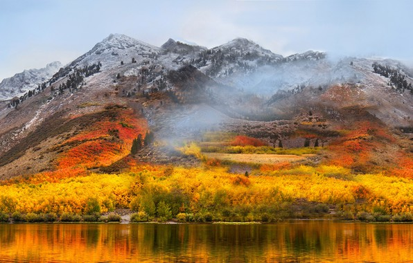 Picture autumn, forest, mountains, lake
