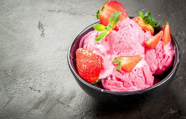 Picture berries, strawberry, ice cream, mint, dessert, strawberry, ice cream