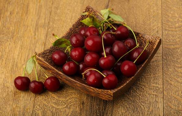 Picture leaves, berries, Cherry, bowl