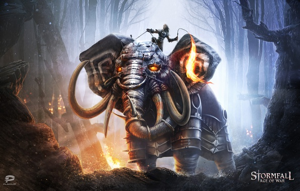 Picture game, forest, armor, elephant, warrior, beast, whip, Storm case, Stormfall: Age Of War