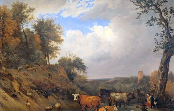Photo wallpaper Shepherds with Their Cattle, Paulus Potter, oil, animals, canvas, picture