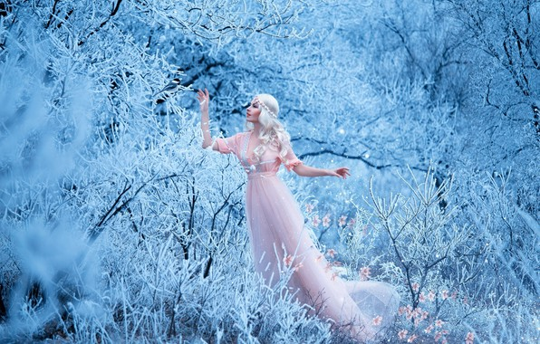 Picture winter, forest, girl, snow, trees, flowers, branches, pose, makeup, dress, pink, hairstyle, blonde, beauty, the …
