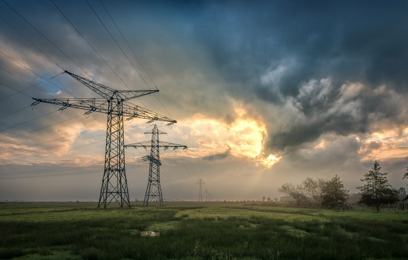Picture field, the evening, power lines