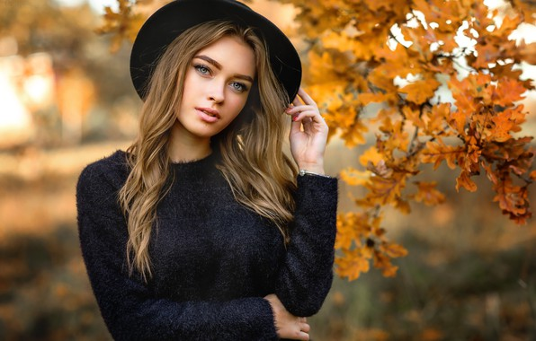 Picture autumn, look, leaves, branches, pose, model, portrait, hat, makeup, hairstyle, brown hair, beauty, in black, …