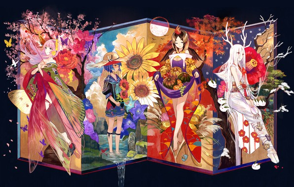 Picture girls, group, anime, Art